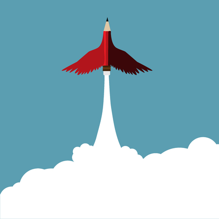 Leadership concept.Red pencil with wing flying to sky.Cloud copy space and Leadership Red pencil business concept vector.