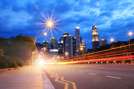 Motion Red Speed Light on road to Singapore City