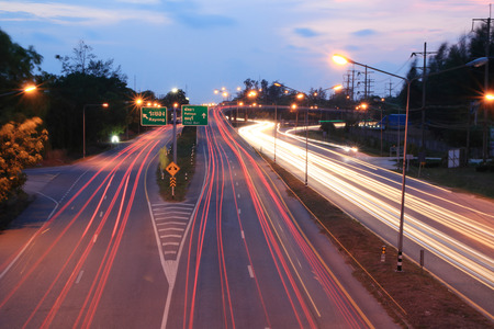 Motion Red Speed Light on road to Pattaya Thailand. Car light trails Rayong province to Pattaya in Thailand.