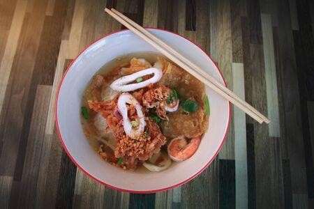Seafood Tom Yum Noodle of street Thai food