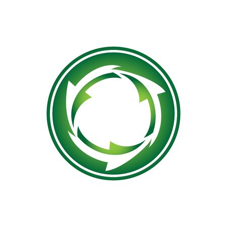Abstract logo design Recycle arrow with cycle cover isolated on white background vector Ilustração