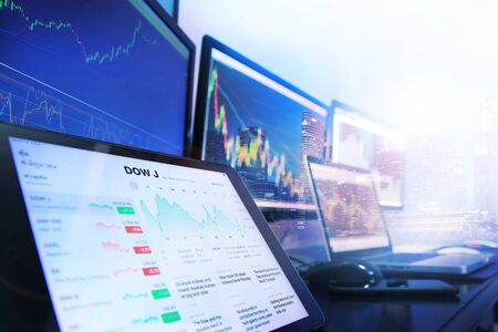 Computer appliances using in stock analysis for investment background