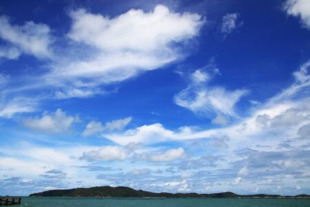 Summer blue sky with clouds background. Landscape beautiful blue sky natural outdoor.
