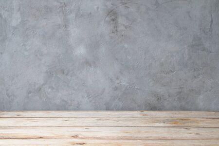 Interior texture background concept. Empty interior design wooden floor with cement wall background. Imagens