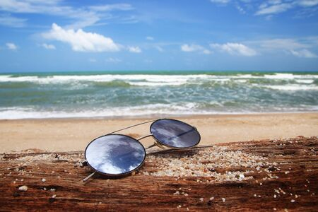 Sunglasses are placed on dry logs and reflections of bright sky. Summer holiday on the beach concept.