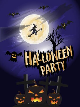 Halloween Party concept background. Holiday party illustration vector.