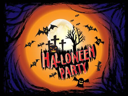 Halloween Party holiday concept with Scary wood root frame illustration