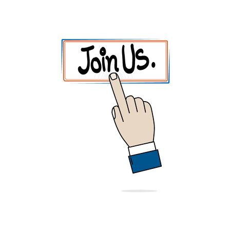 Hand business icon Press Join us on white background Ilustração