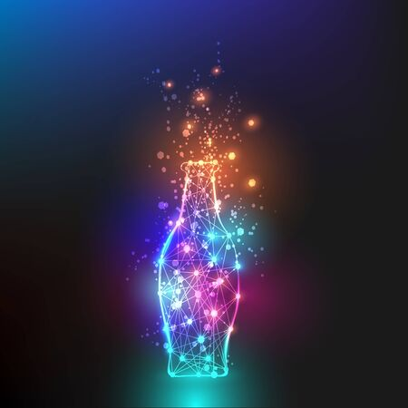 Polygon Bottle design colorful lighting with bokeh background