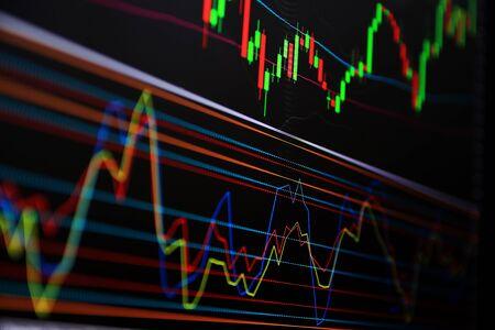 Gráfico de líneas Señales comerciales Moneda para negociar Inversiones. Negociar, invertir en el mercado de divisas y el mercado de valores.