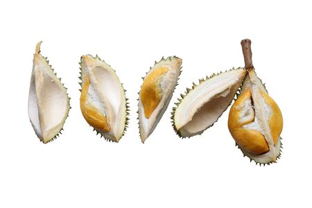 Components of durian that is divided isolated on white background