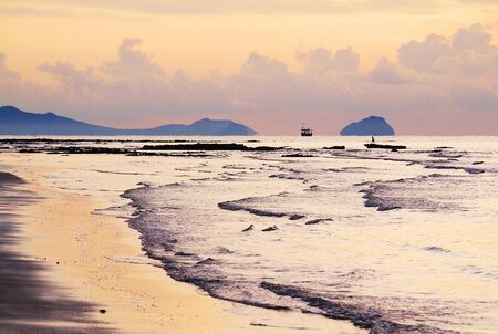 Scenic of the sea in the morning at Prachuap Kiri Khan,Thai gulf  photo