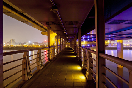 dark city: Overpass at Night Stock Photo