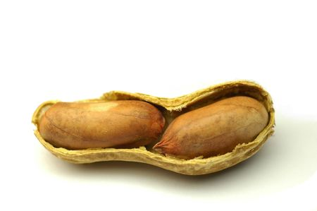goober: Two peanut seeds with their brown seed coats Stock Photo
