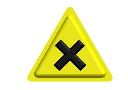 triangular warning sign: Yellow triangular warning sign  Stock Photo