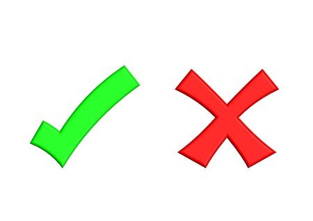 cruz roja: Ilustración de la marca de verificación verde y marca de Cruz Roja sobre fondo aislado
