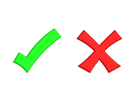 cruz roja: Ilustraci�n de la marca de verificaci�n verde y marca de Cruz Roja sobre fondo aislado