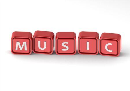 buzzword: Cubes: music Stock Photo