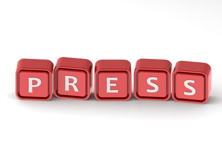 annoucement: Cubes: press Stock Photo