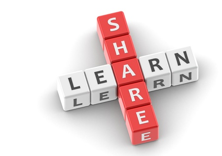 sharing: Buzzwords: share learn Stock Photo