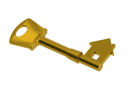 Gold house-shape key photo
