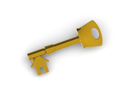 Gold house-shape key Stock Photo - 13805103