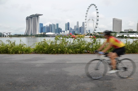 Biking with Singapore city as background