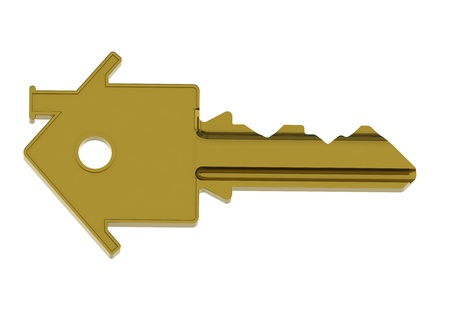 Gold house key photo