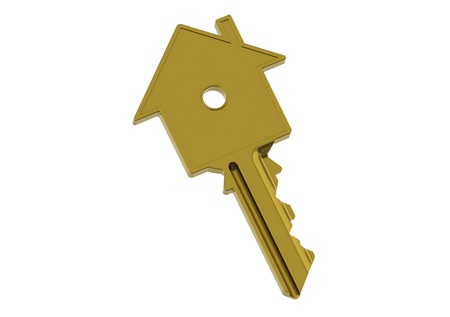 nobody real: Golden house-shape key Stock Photo
