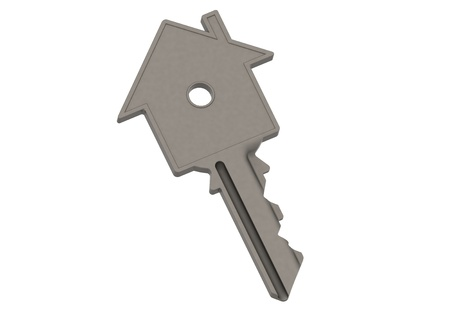 relocate: Steel house-shape key Stock Photo