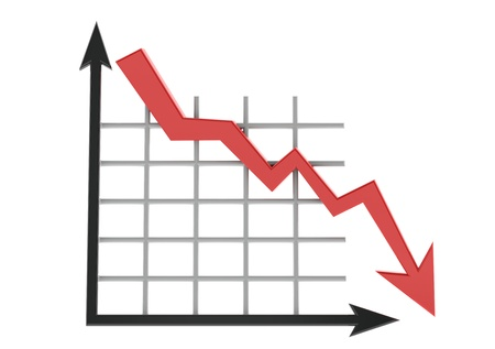 market trends: Business graph showing lose Stock Photo