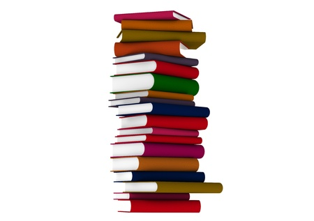 Colourful books over white photo