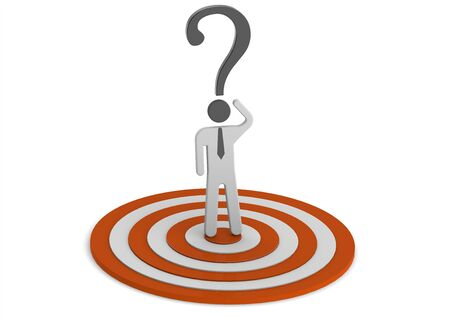 3D target man with question mark photo