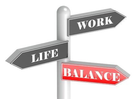 burnout: Work Life Balance signpost Stock Photo
