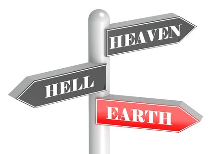 heaven and hell: Heaven, hell, earth Stock Photo