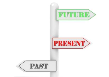 stock predictions: Past Present Future cartello Archivio Fotografico