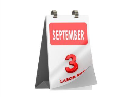 Calendar September 3, Labor day Stock Photo - 14185861