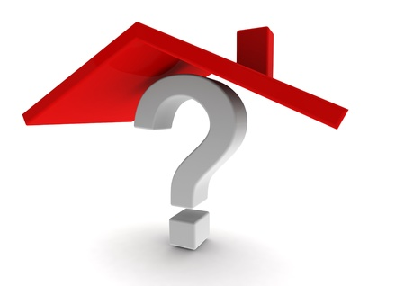 Question mark under red roof Stock Photo
