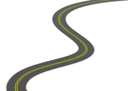 road marking: Curved asphalt road Stock Photo