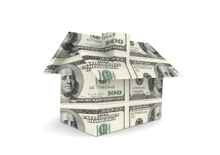 equity: House with US currency Stock Photo