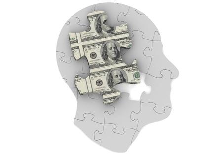 free the brain: Money mind Stock Photo