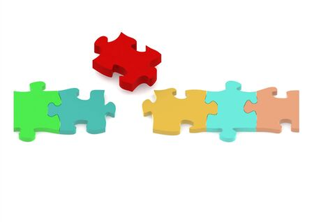 jigsaw tangram: Pieces of a puzzle Stock Photo