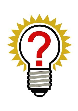 questionail: Pregunta en una bombilla Foto de archivo