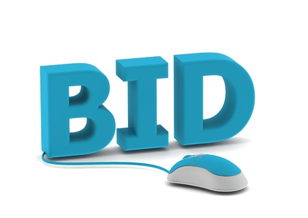 Bid and computer mouse photo