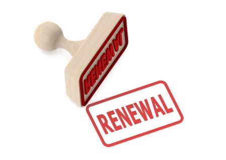 Un francobollo di legno con la parola rinnovamento