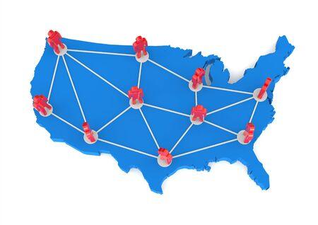 e recruitment: USA Networking Map