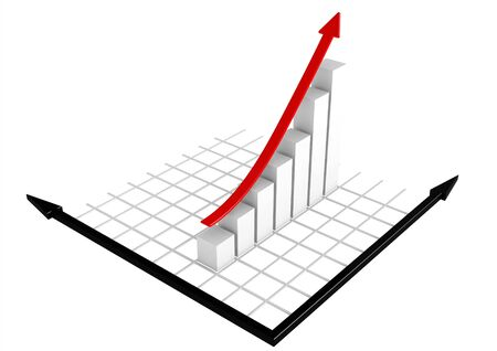White bar chart with red arrow Stock Photo - 14502792