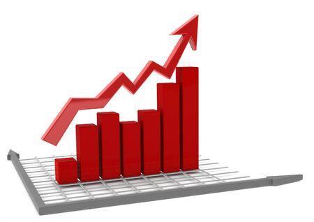 Red bar chart Stock Photo - 14502793