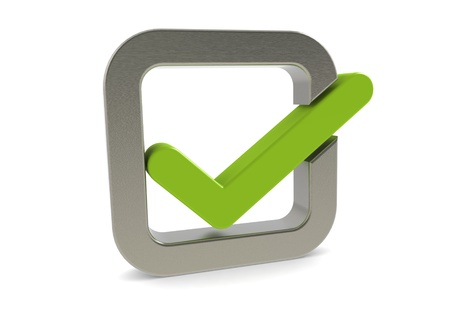 checkbox: Green checkmark with square metal frame