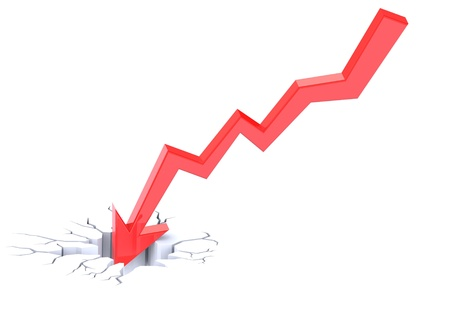 downfall: Chart going through the floor Stock Photo
